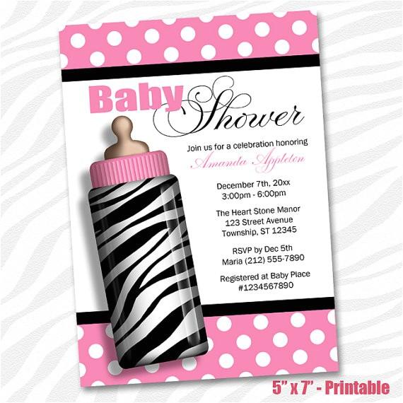 printable zebra baby shower invitations