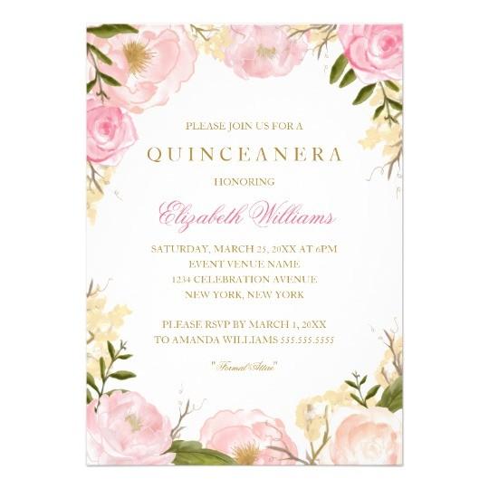 elegant pink rose quinceanera invitation 256774796051617018