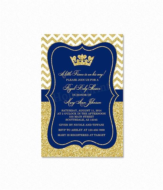 prince baby shower invitation royal blue