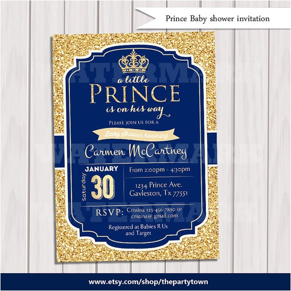 prince baby shower invitation royal blue