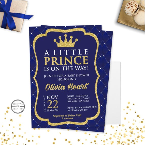 prince baby shower invitation royal