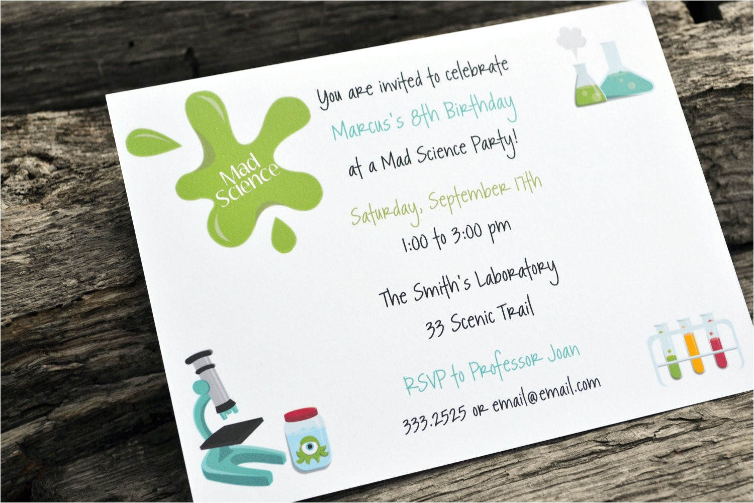 science birthday party invitations