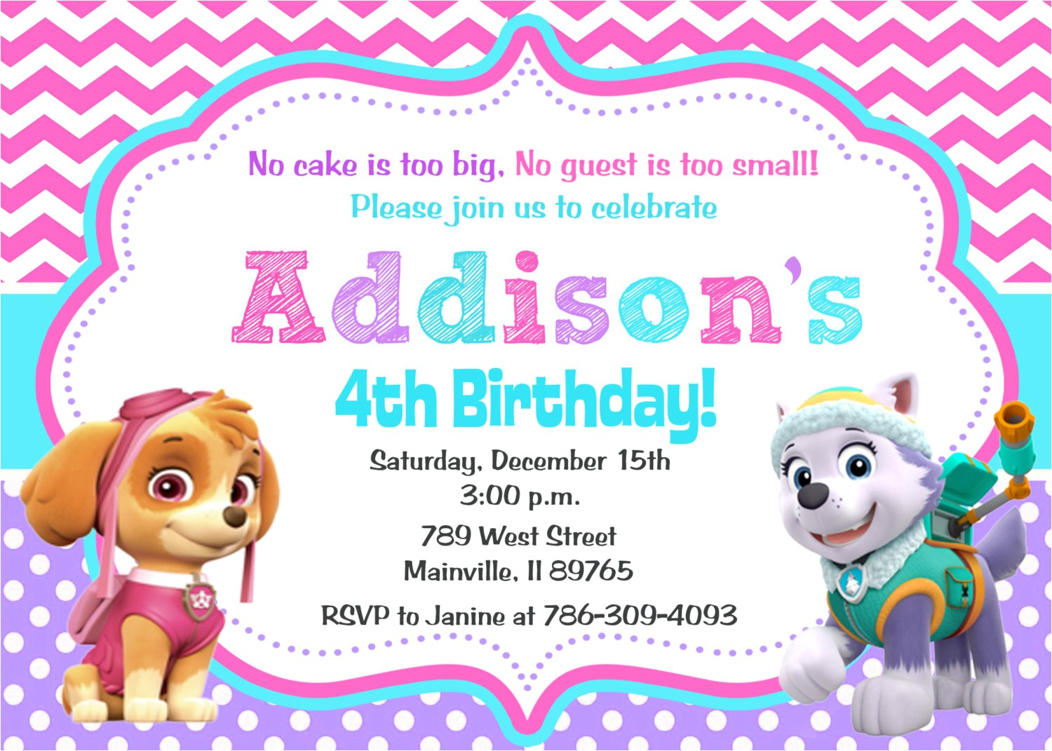 Free Skye Paw Patrol Birthday Invitations Paw Patrol Birthday Party Invitation Skye Everest Digital