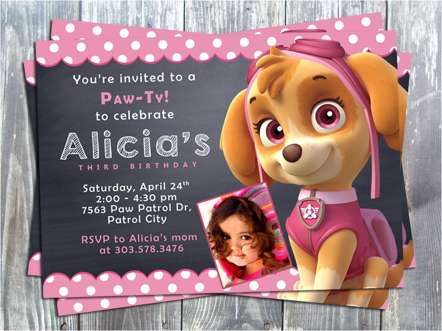 Paw Patrol Skye Birthday Party Printable Invitation