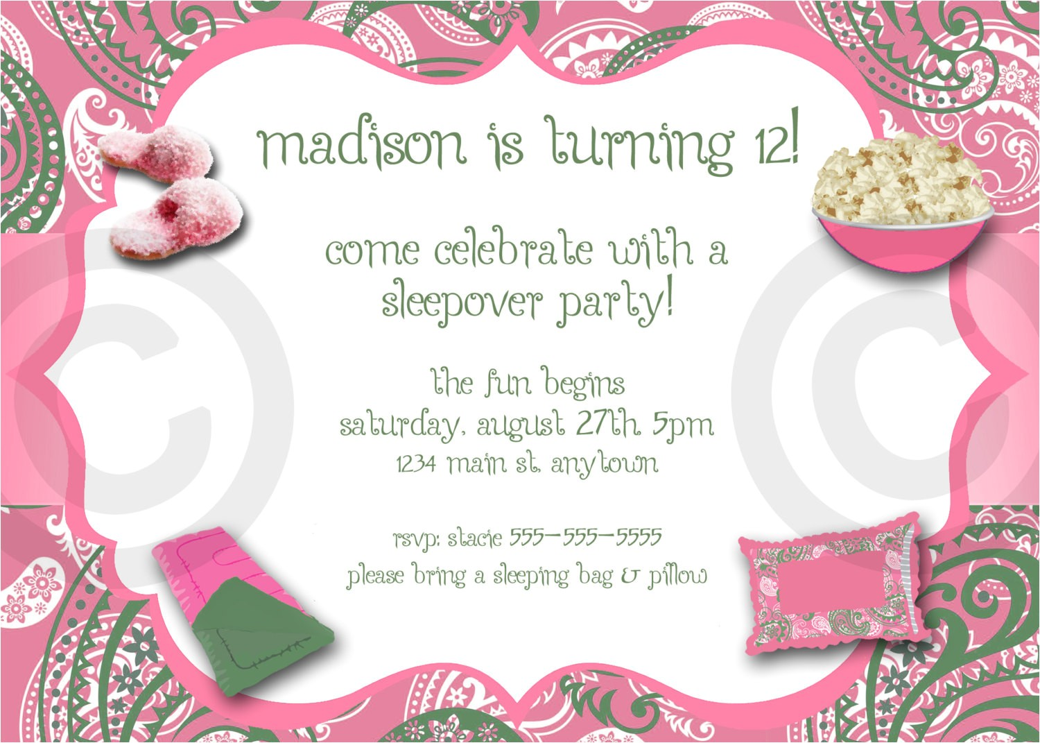 free printable birthday invitations for girls sleepover