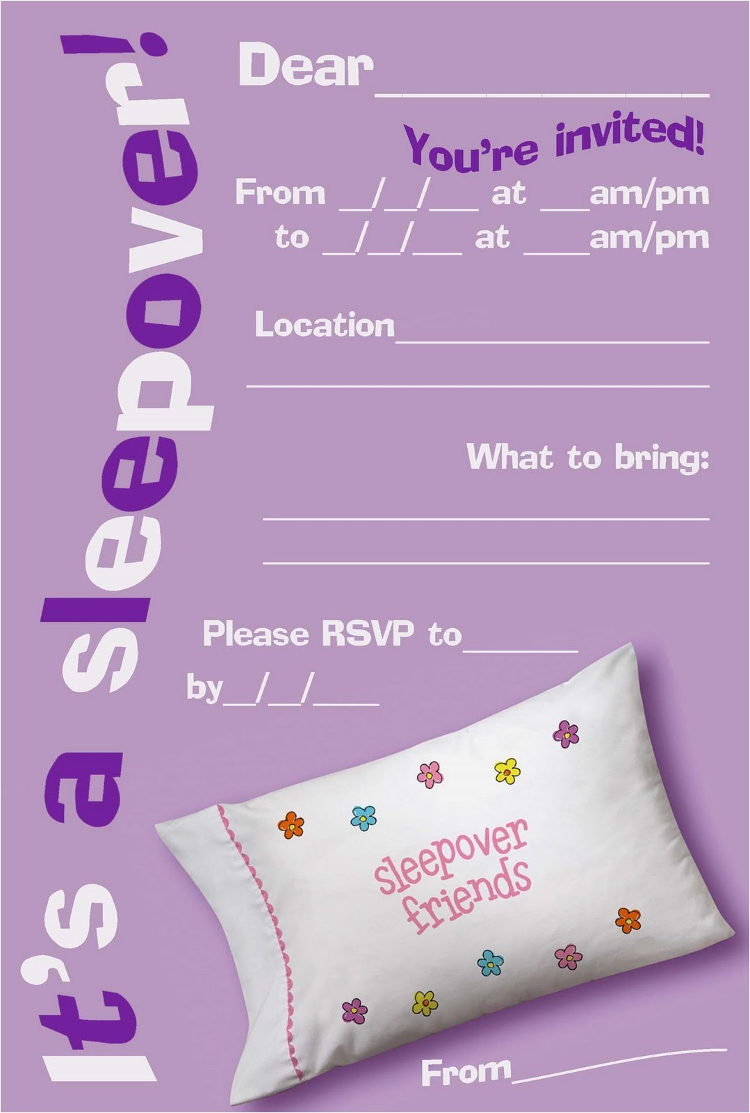 free printable sleepover slumber party