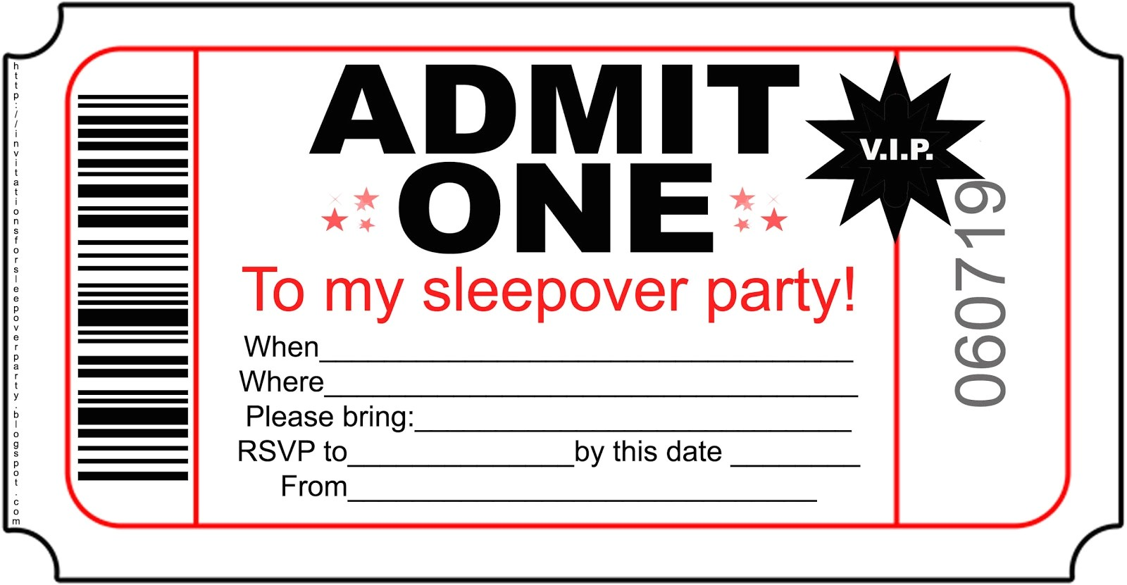 free boys sleepover party invitations