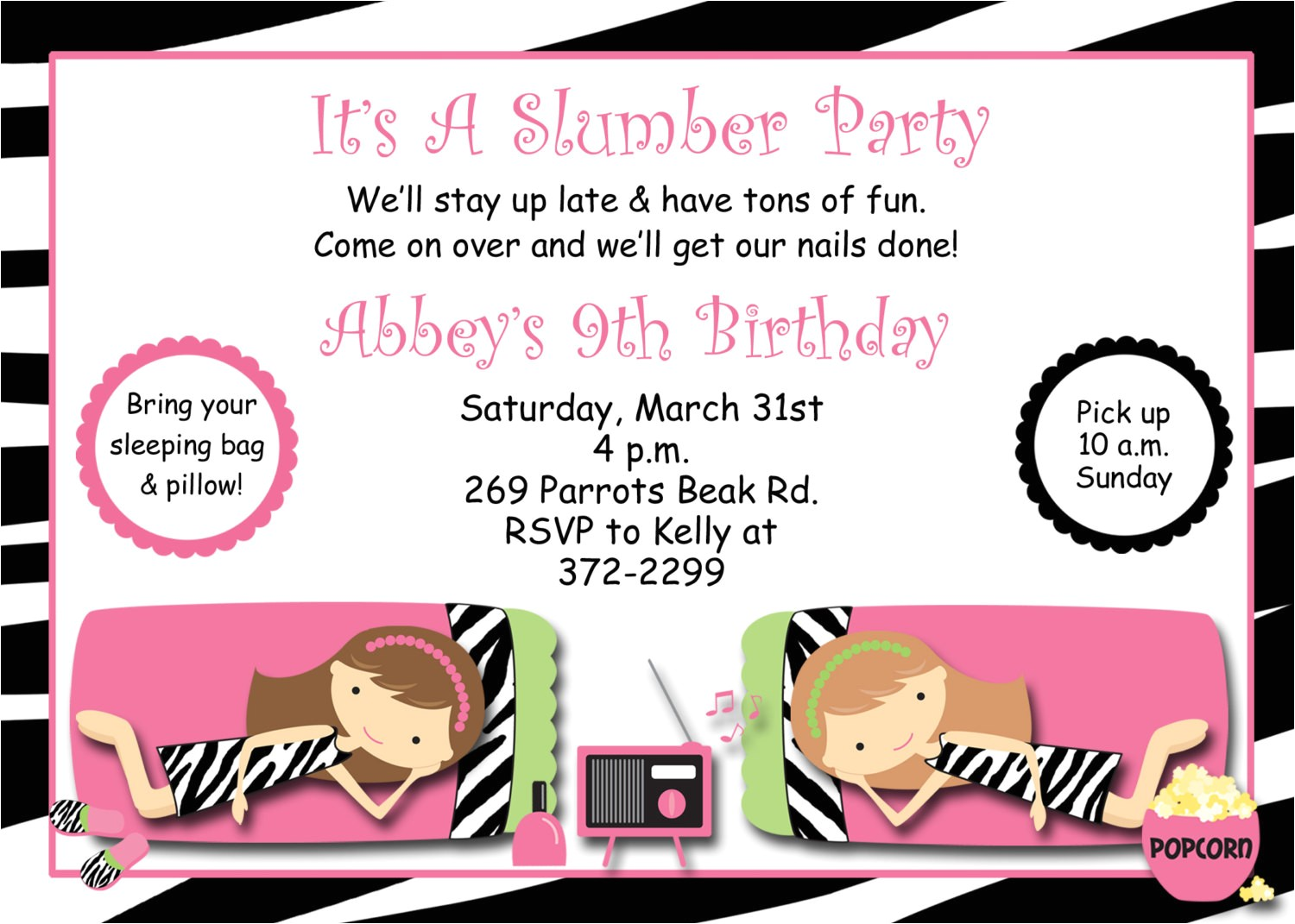 slumber party birthday invitation pajama