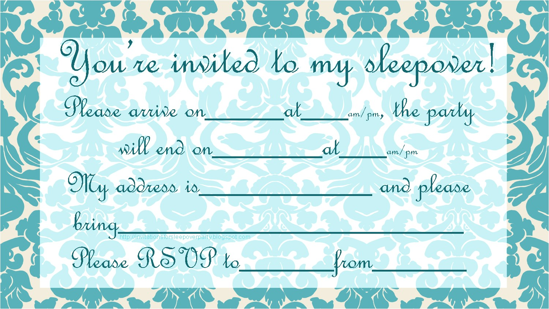 teen slumber party invitation free to