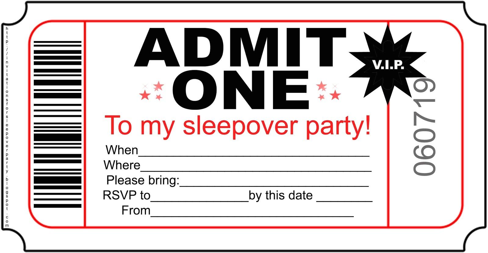 free boys sleepover party invitations