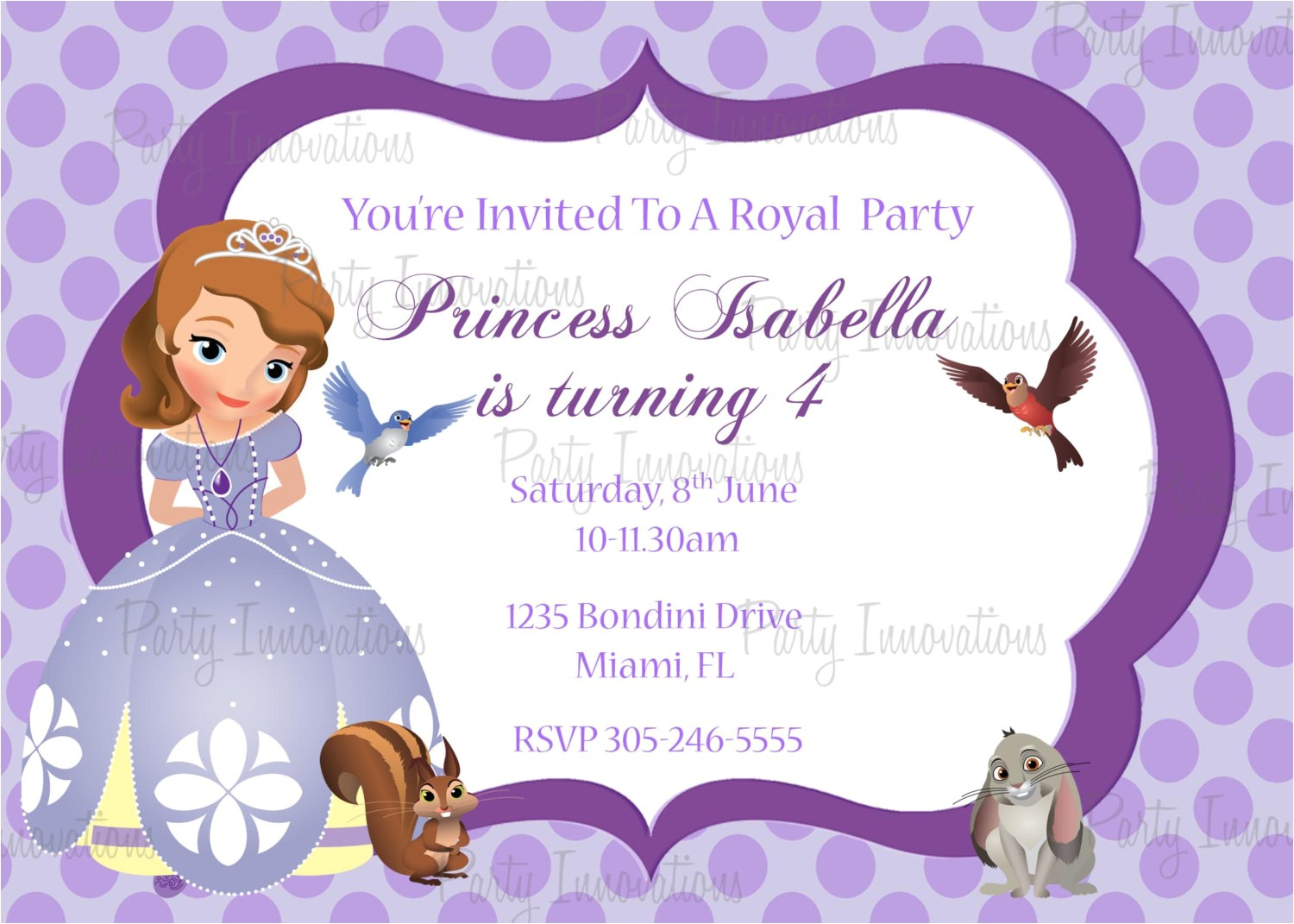 printable sofia the first birthday party