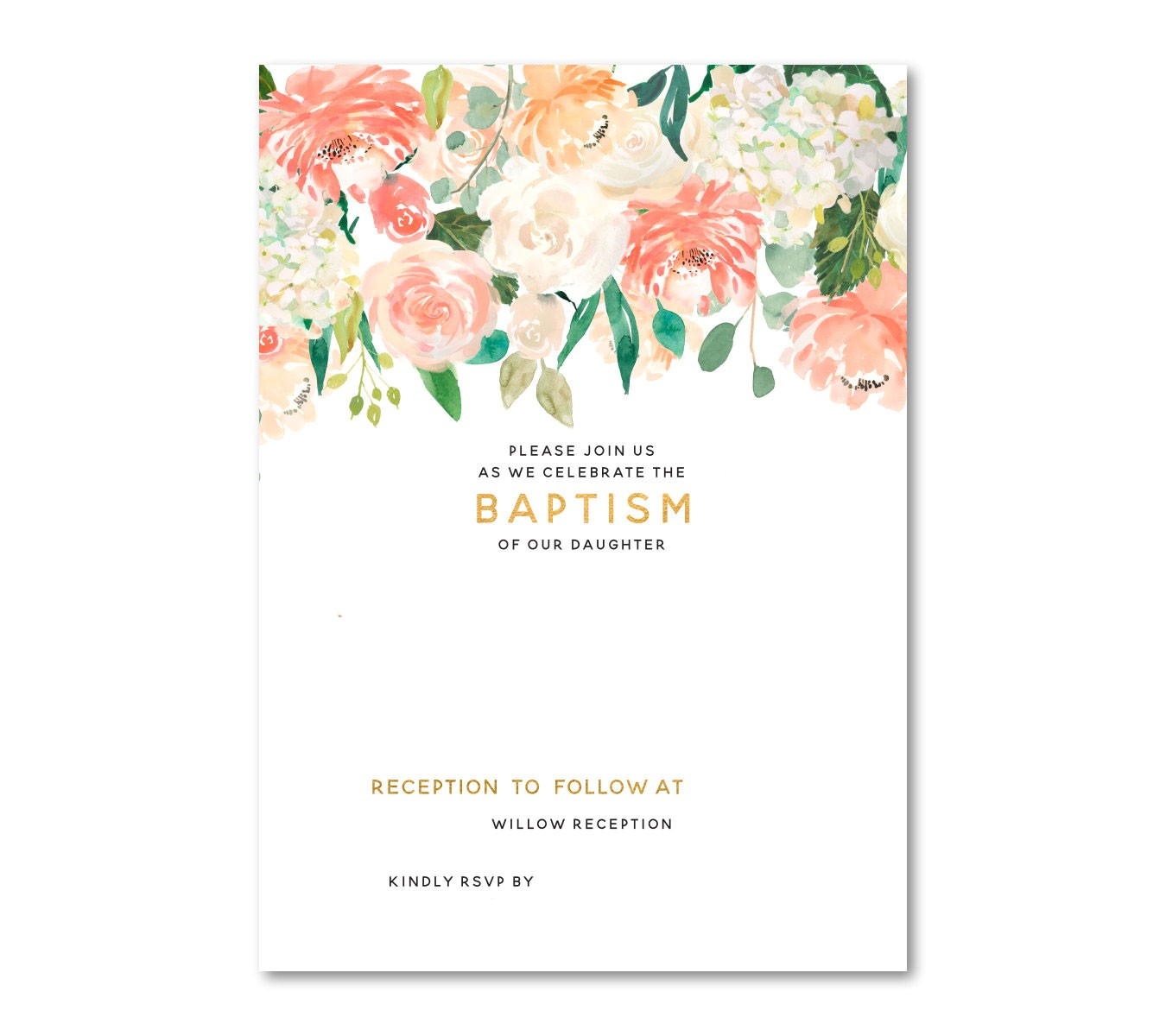 free floral baptism invitation template