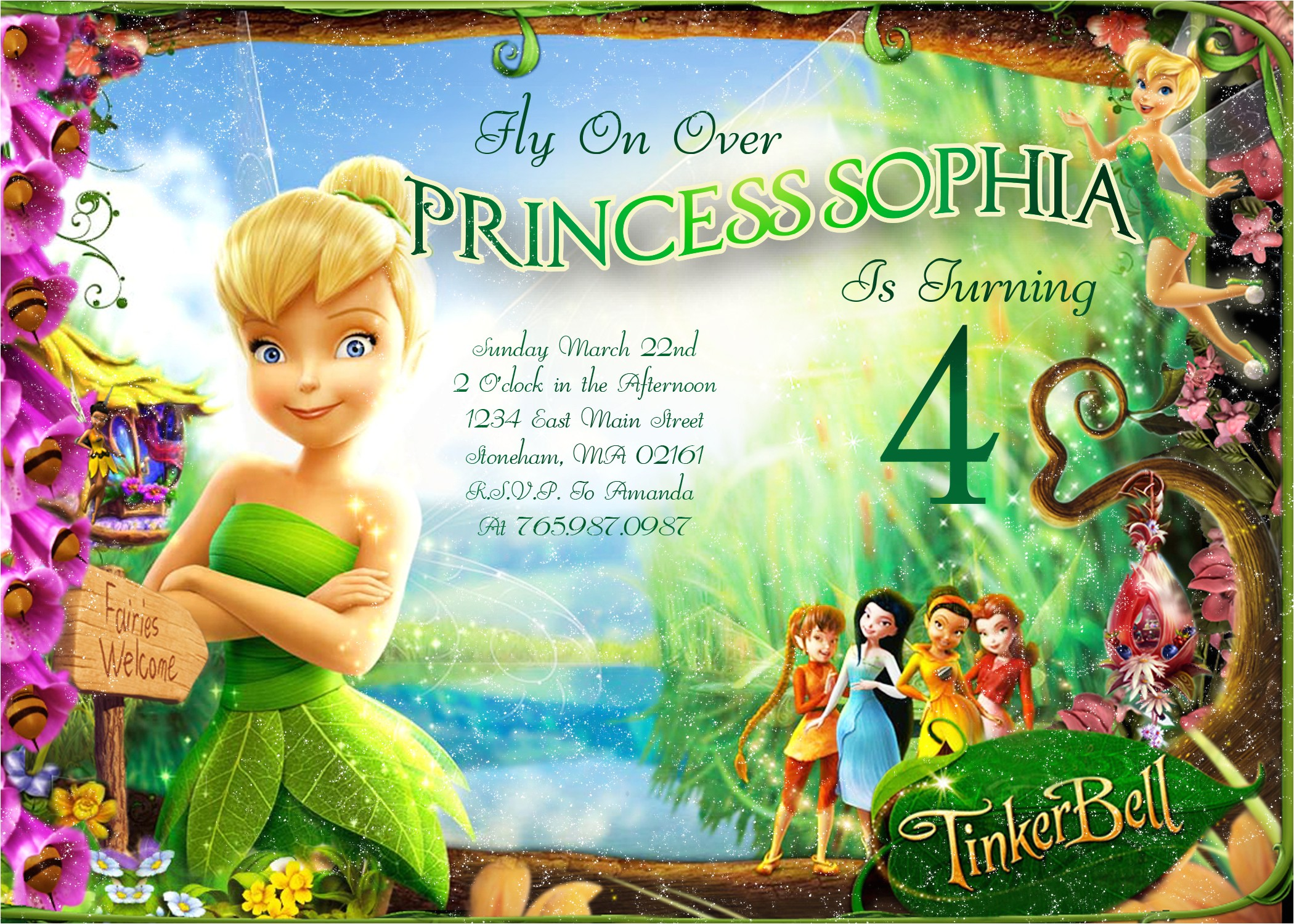 tinkerbell fly on over birthday invitation printable