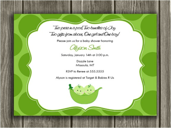 Two Peas in a Pod Baby Shower Invitation Thank You Card Included