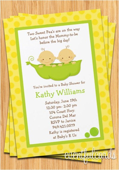 twins baby shower invitation two peas in