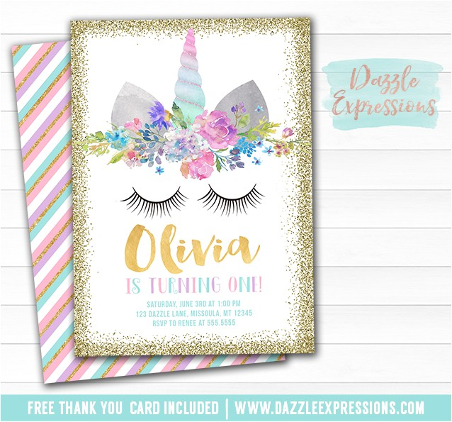 unicorn birthday invitation 8 free thank you card included