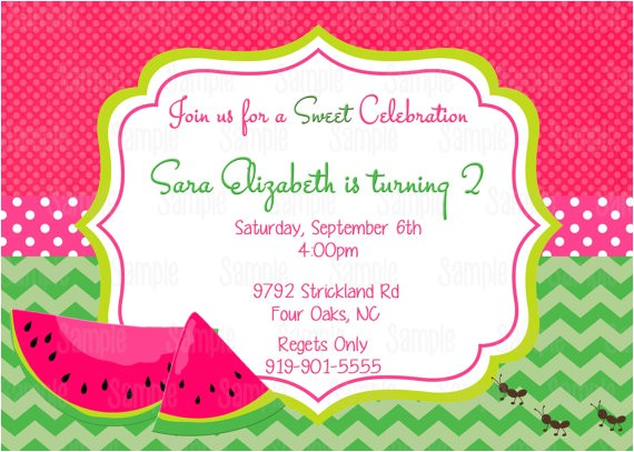 pink watermelon invitation printable