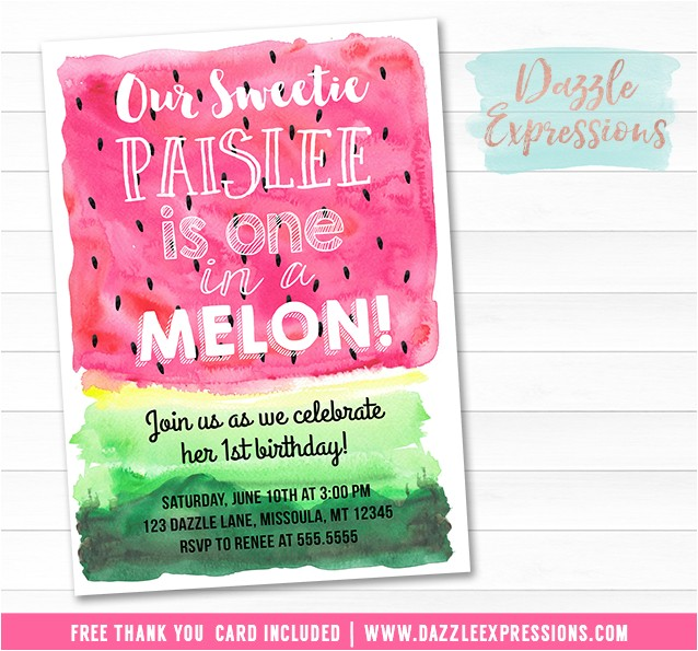 Watermelon Invitation 5 FREE thank you card included