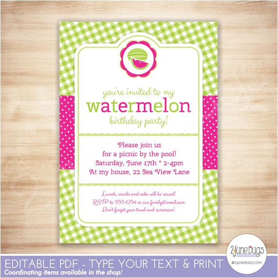 printable watermelon party invitation template kids