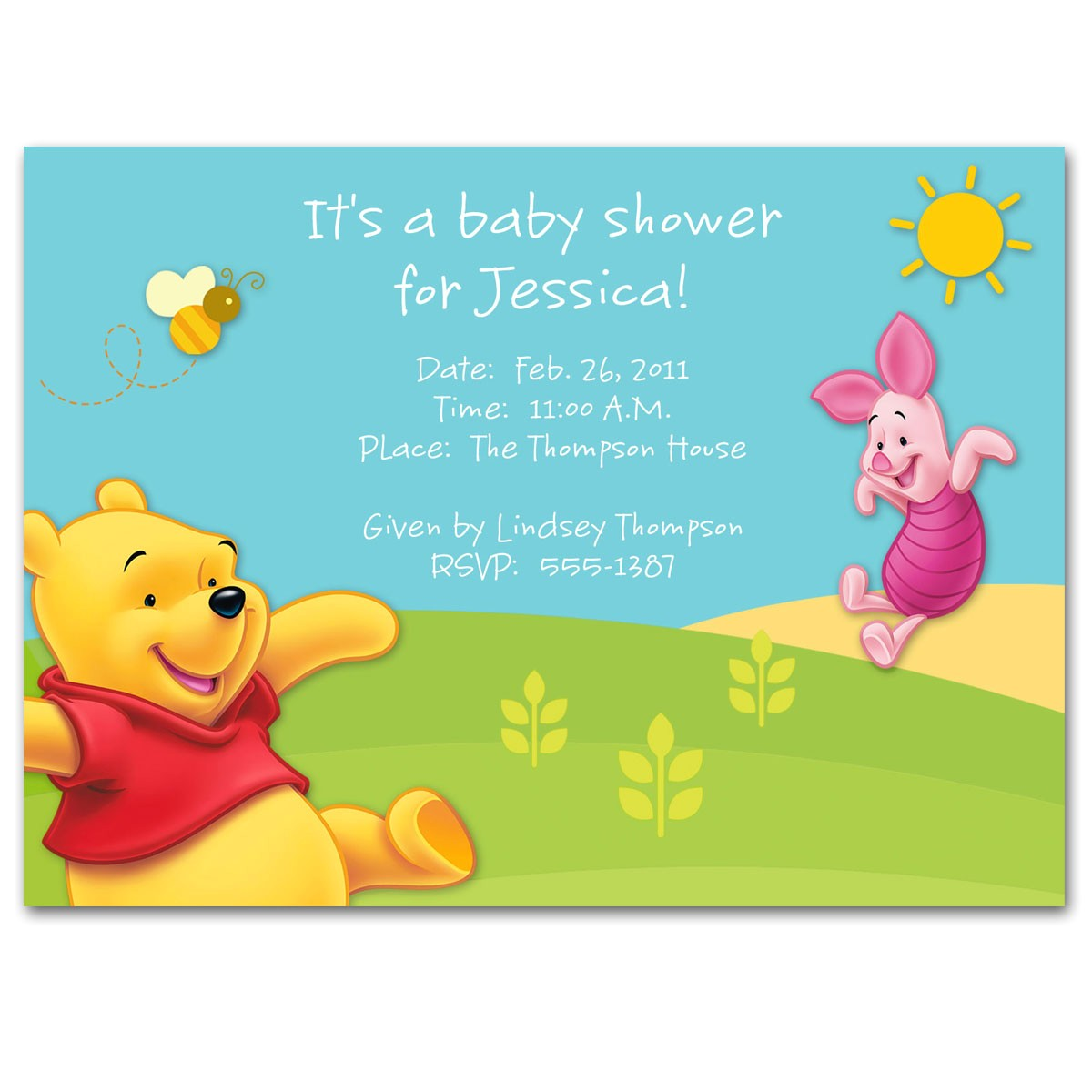 winnie the pooh baby shower invitations templates