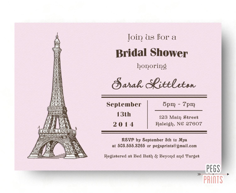 paris bridal shower invitation parisian