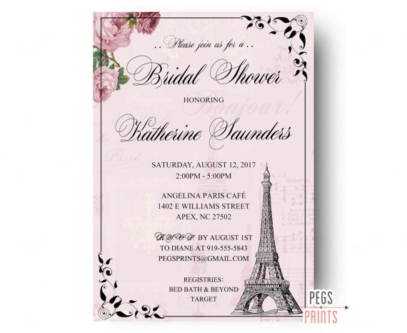 parisian bridal shower invitation paris bridal