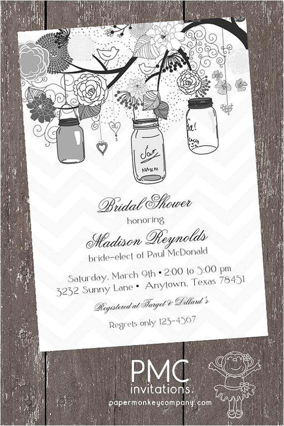 French Country Bridal Shower Invitations Vintage Shabby Chic French Country Mason Jar Shower Baby