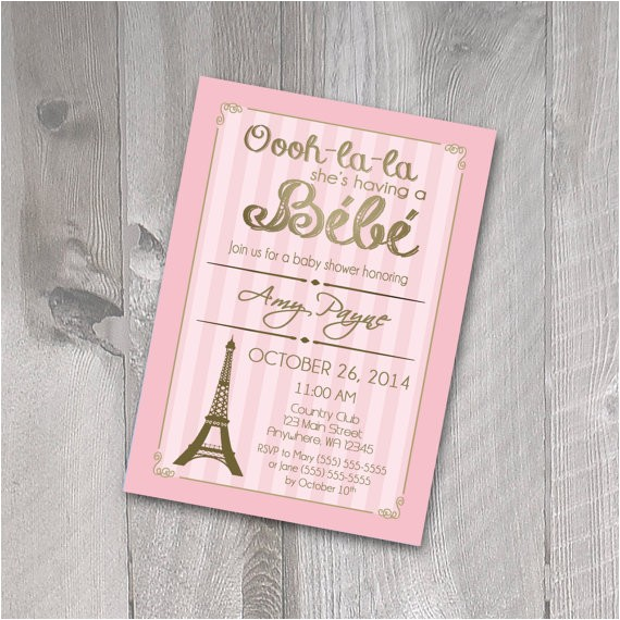 paris baby shower invitation printable