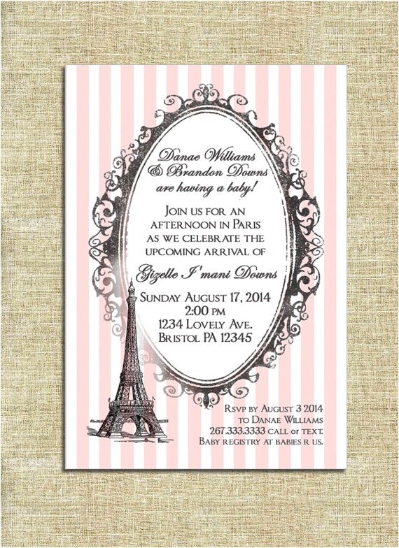 paris theme baby shower invitation
