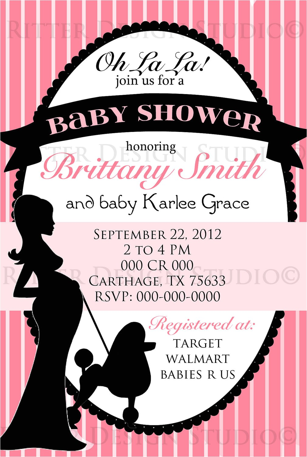 paris themed chic baby shower invitation