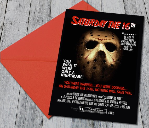 friday the 13th themed halloween invite