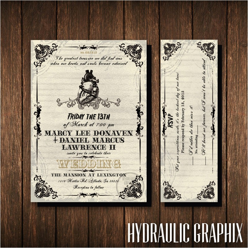 friday the 13th wedding invitation and