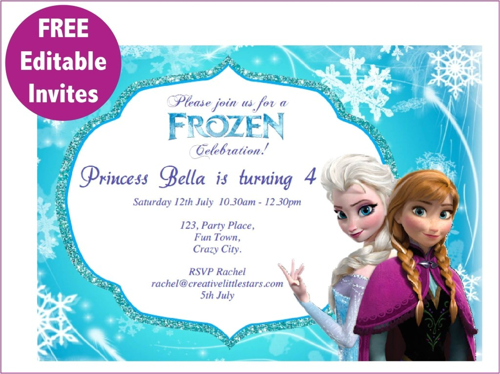 post frozen birthday invitations editable printable