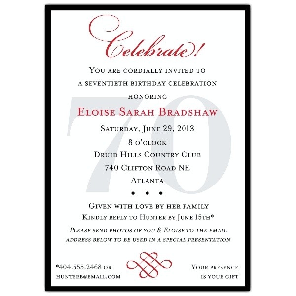 3 fantastic 70th birthday party invitations wording