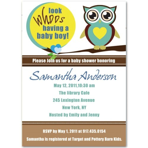 attractive and funny owl baby boy shower invitations bs141