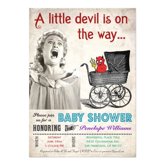 funny devil baby shower invitations