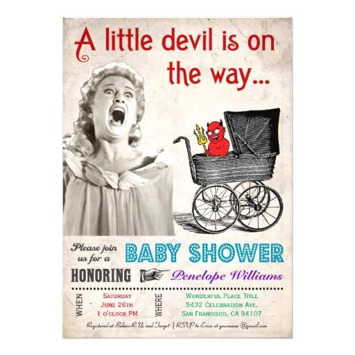 funny devil baby shower invitations