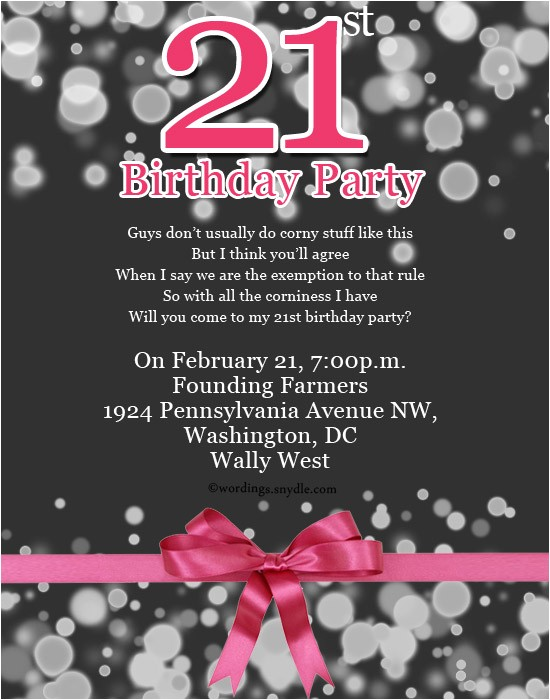 21st birthday party invitation wording