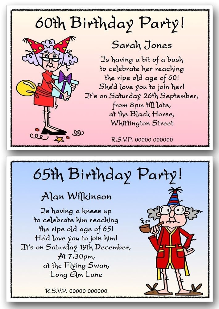 Funny Birthday Invitation Wording for 60th Birthday Party Personalised 40th 50th 60th 70th 80th 90th Funny Birthday