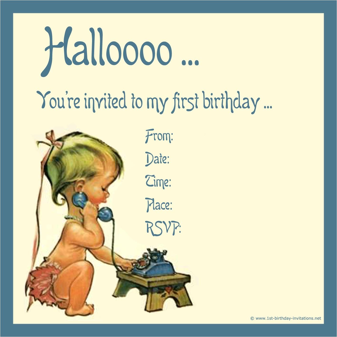 1st birthday invitations net