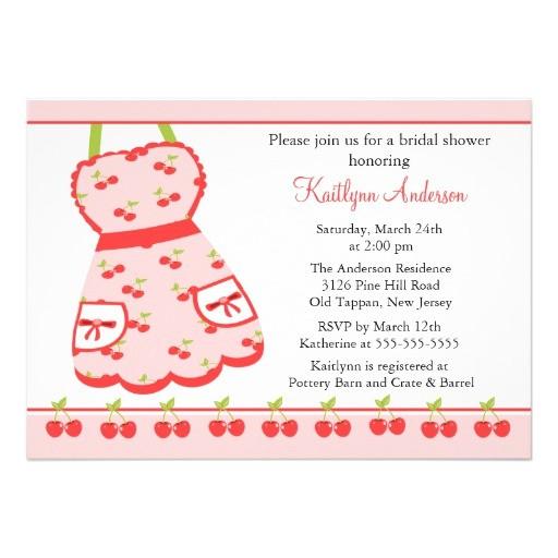 fun cherry retro kitchen bridal shower invitation