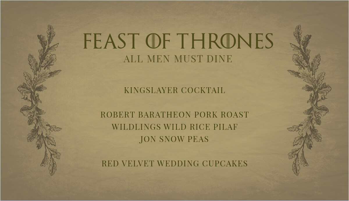 game of thrones party invitation
