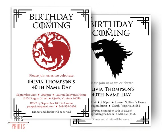 game thrones birthday invitation printable