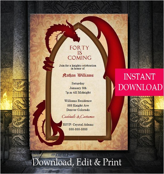game thrones inspired dragon invitation dragon