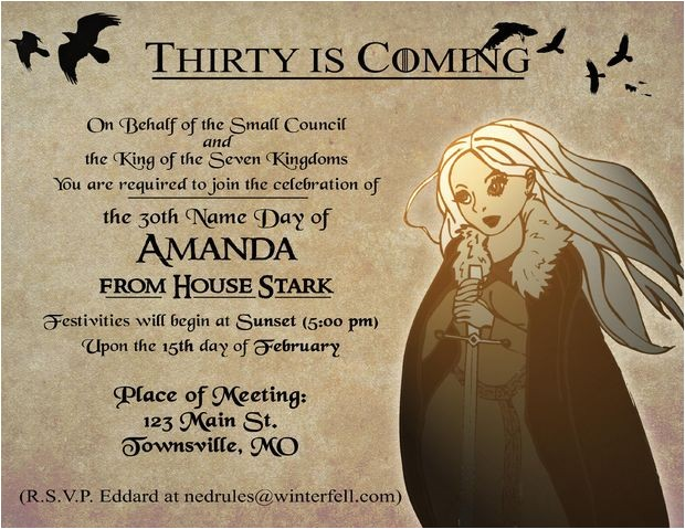 Game Of Thrones Birthday Party Invitations Game Of Thrones Party