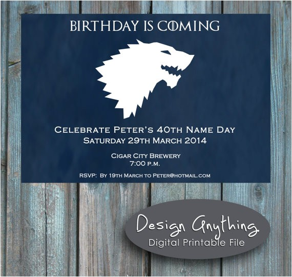 printable game of thrones birthday party
