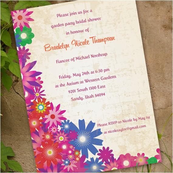 floral bridal shower invitation garden