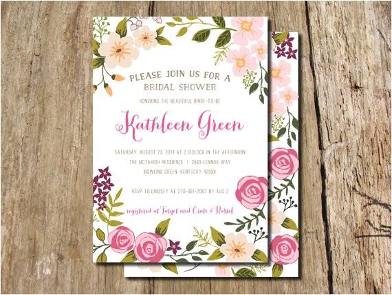 garden party hand drawn floral frame bridal shower invitation