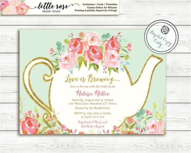 love is brewing bridal shower invitation garden tea party high tea invite bridal tea wedding shower printable lr1050
