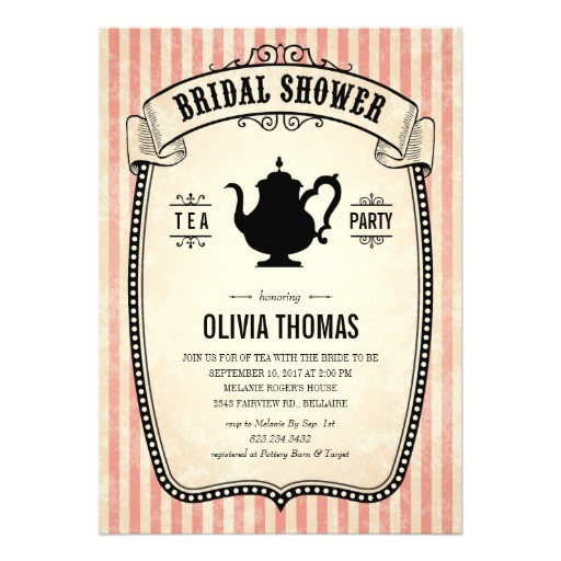 vintage bridal shower tea party invitations 161060509272282310